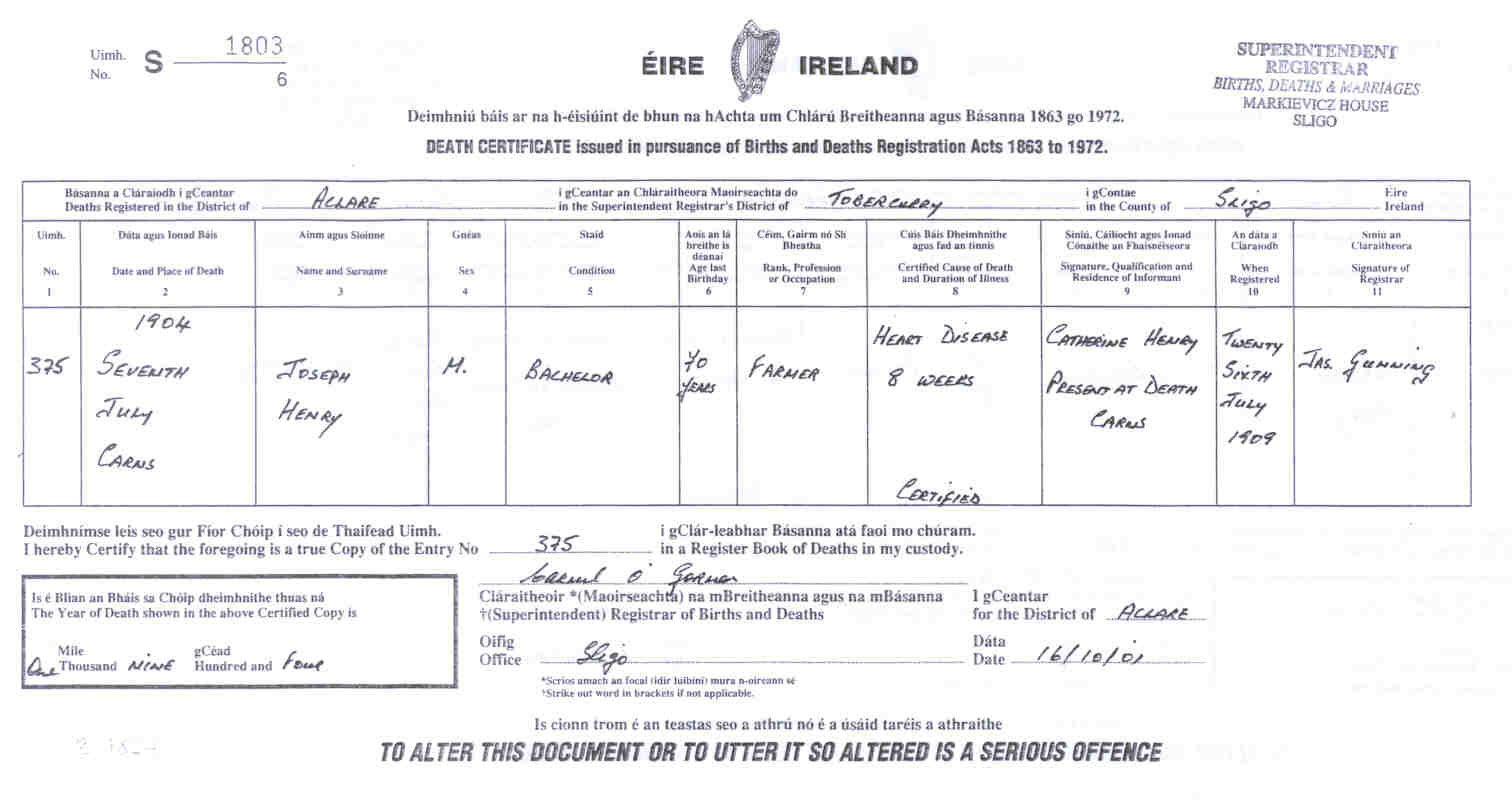Henry family descendants irish death certificate aiddatafo Image collections